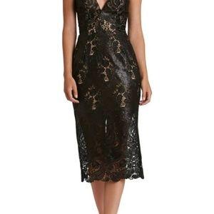 Dress the Population Black Angela Sequin Lace Midi